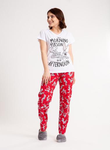 Madame Sare  Kadın Tavşan Desenli Beyaz Pijama Takımı Pembe
